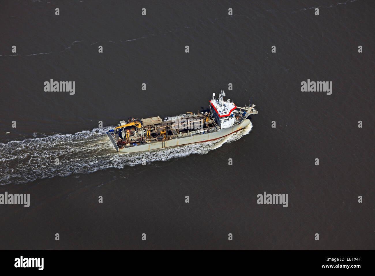 dredging vessel on river Elbe, Germany, Cuxhaven - Stock Image