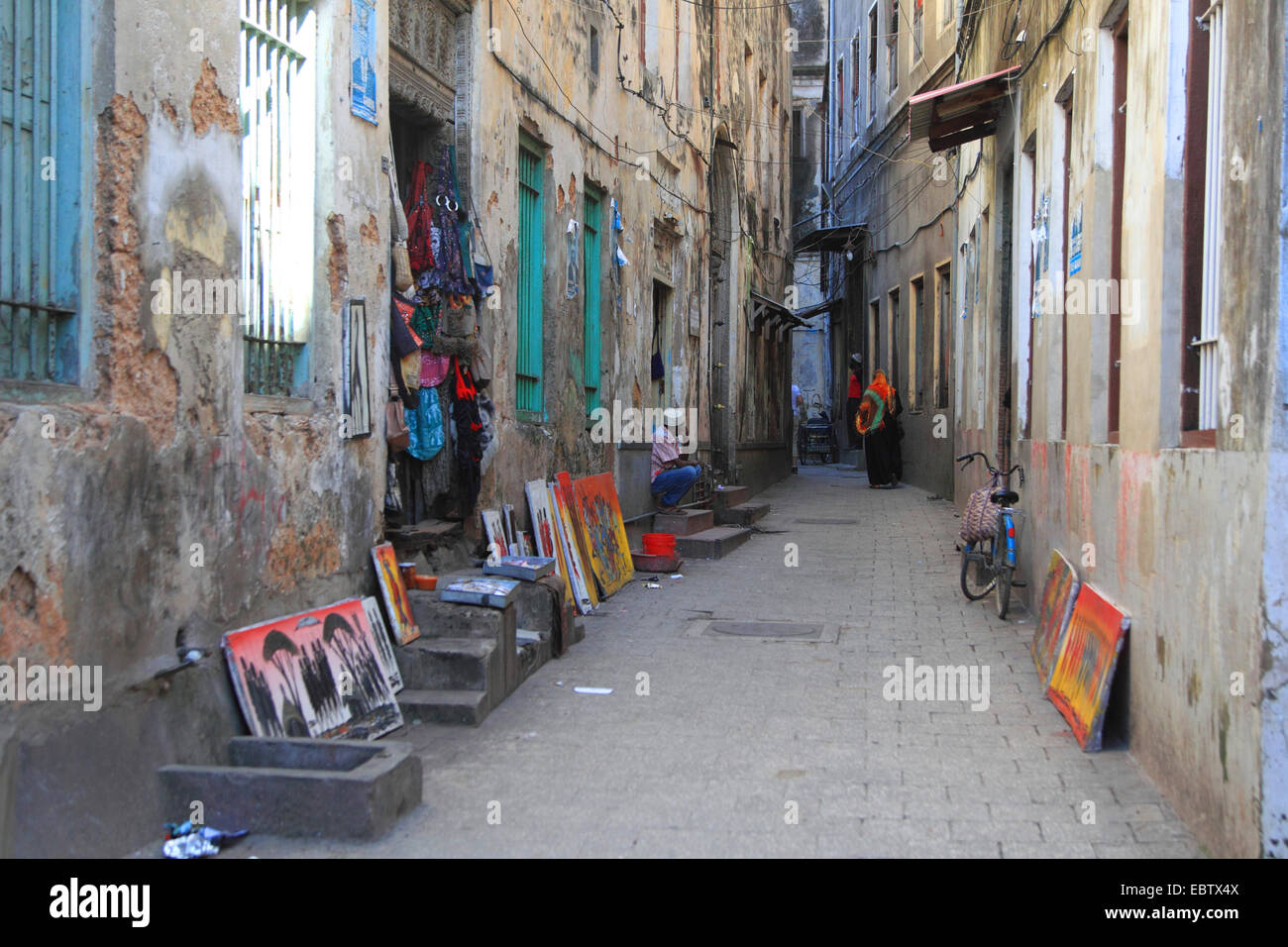 alley in old city, Tanzania, Sansibar, Stone Town - Stock Image