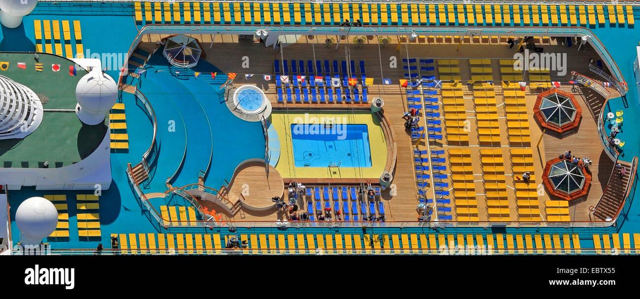 sun deck of Aida Cara - Stock Image