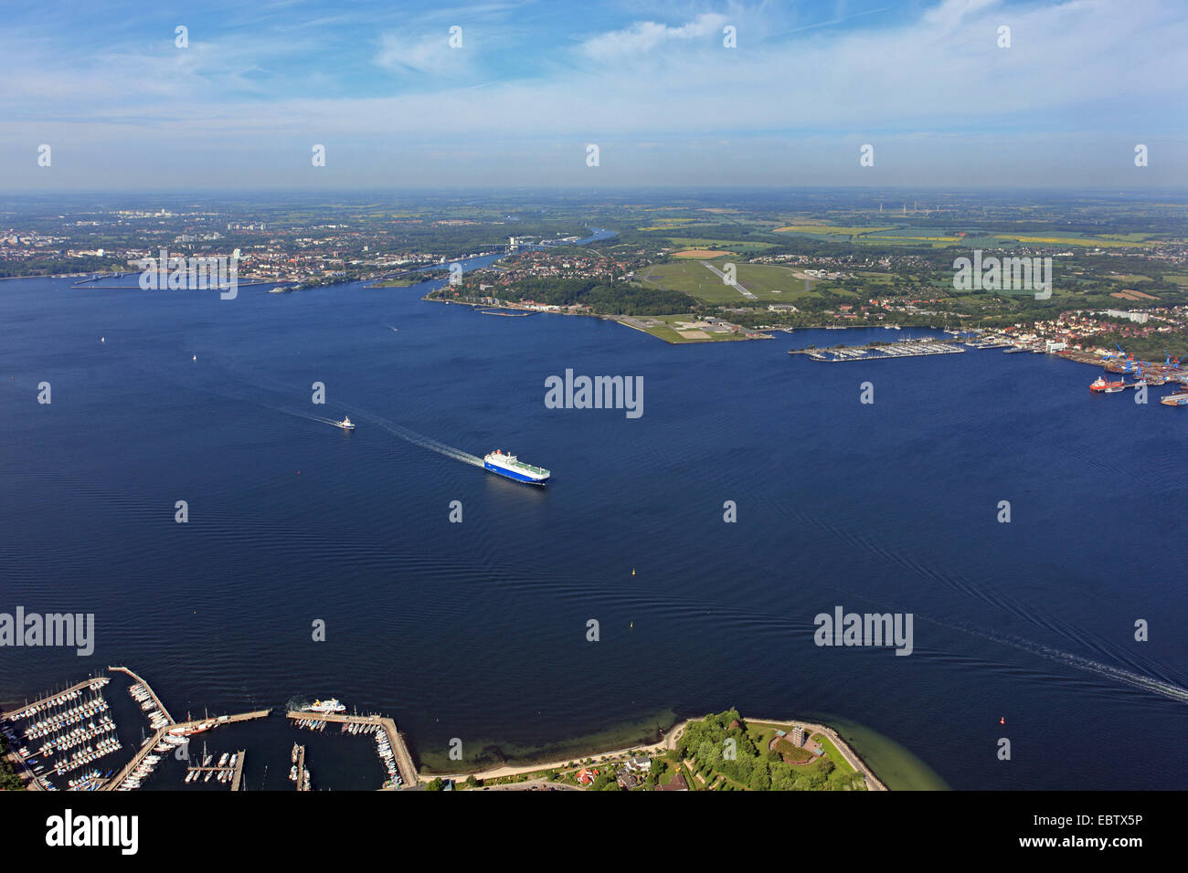 Bay of Kiel, view to Holtenau watergate, Germany - Stock Image