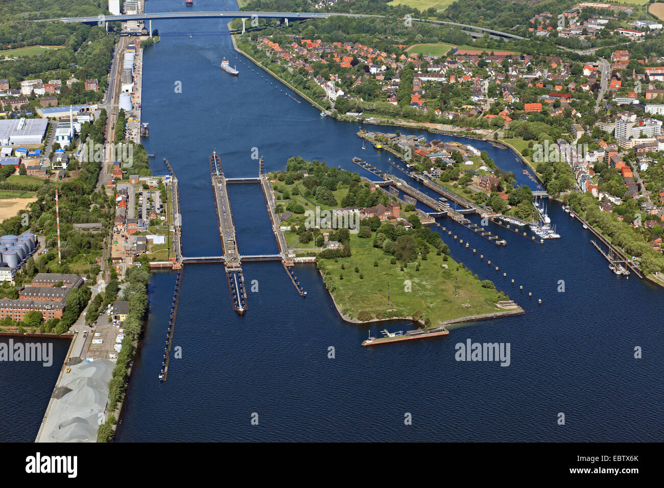 Kiel Canal and watergate Holtenau, Germany, Kiel - Stock Image