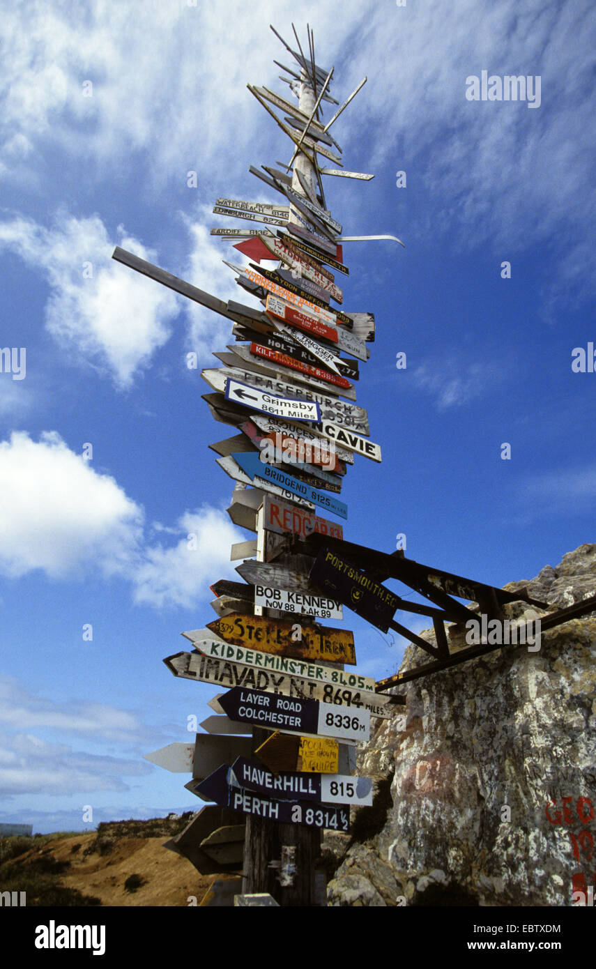signboards at pole, Falkland Islands, Port Stanley - Stock Image