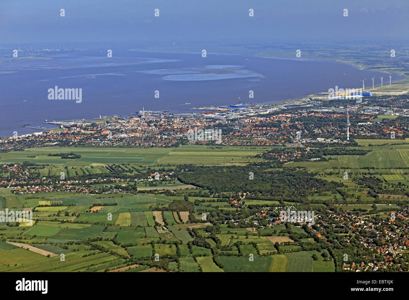 view of Cuxhaven and Elbe river, Germany, Lower Saxony, Cuxhaven - Stock Image