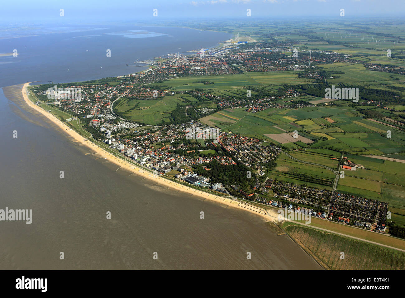 Cuxhaven and river mouth of Elbe, Germany, Lower Saxony, Cuxhaven - Stock Image