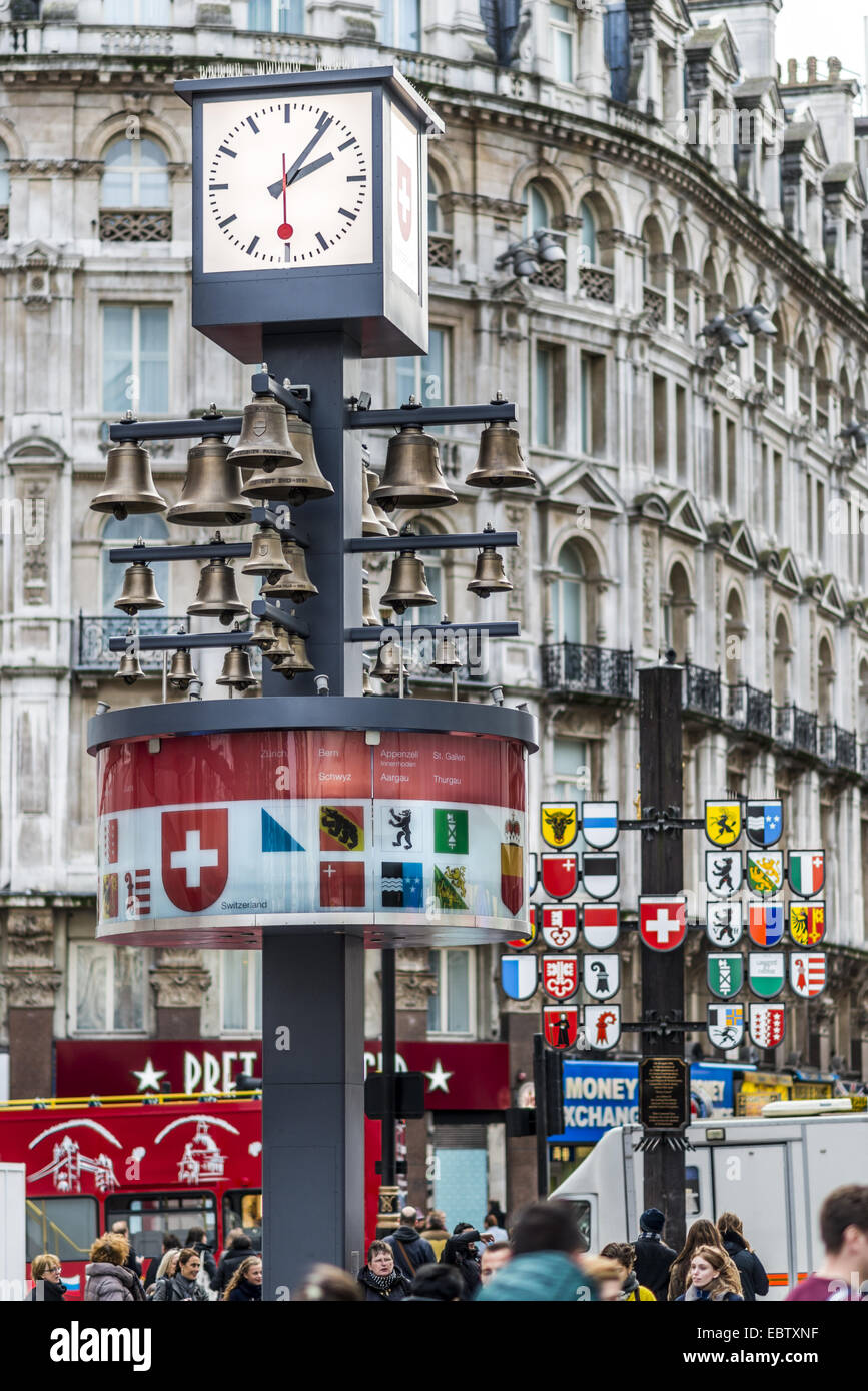 Swiss Glockenspiel in Leicester Square, London, was originally housed in the Swiss Centre. Behind the clock is a - Stock Image