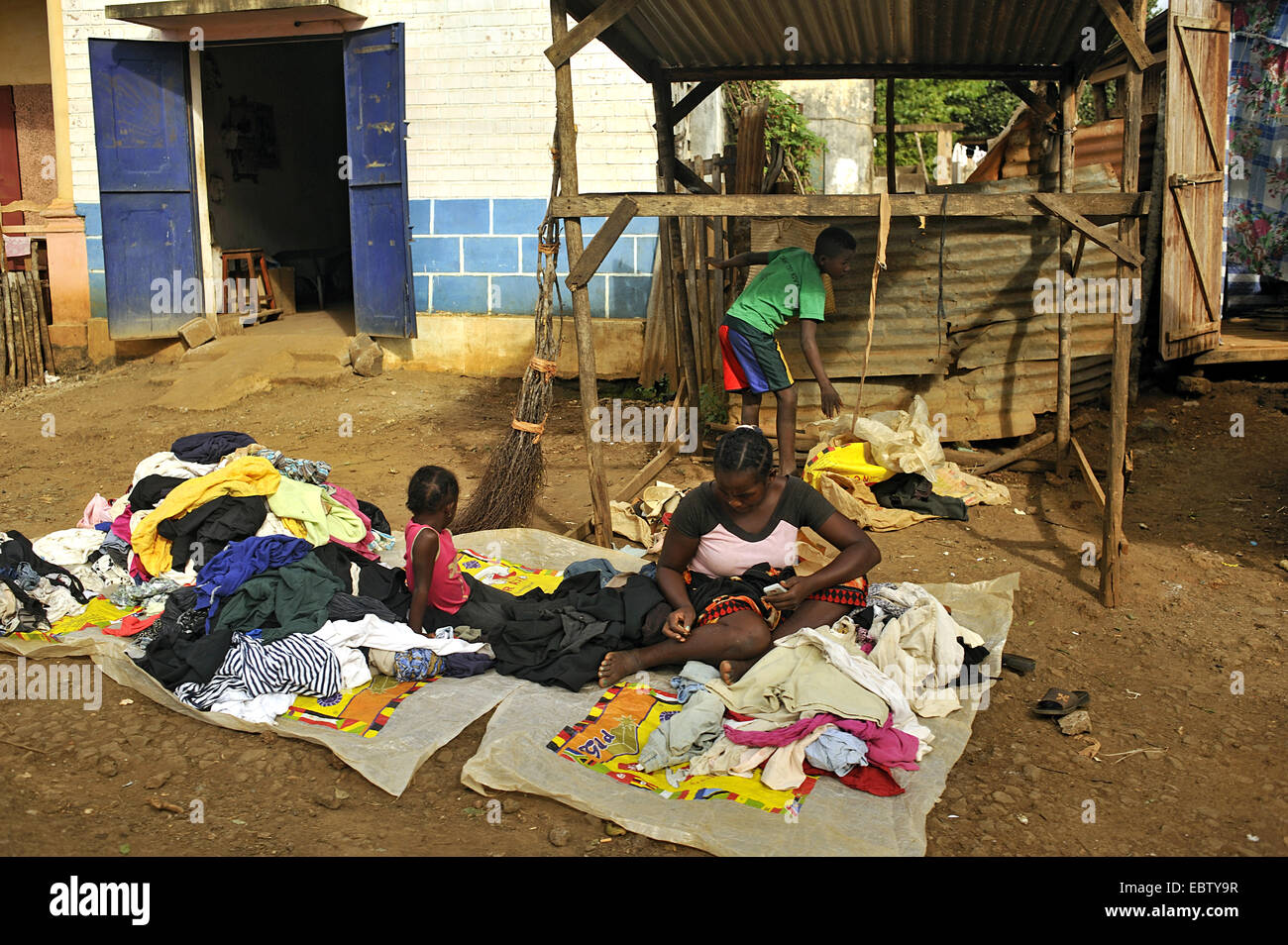 saleswoman selling clothes, Madagascar, Ambilove - Stock Image