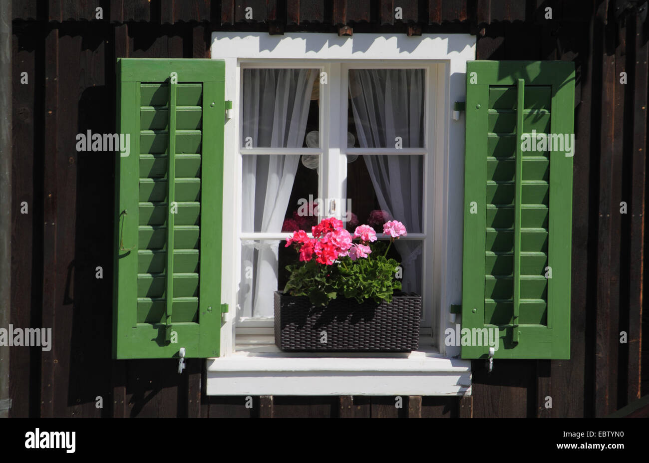 window with opened shutters and flower box with geraniums, Switzerland - Stock Image