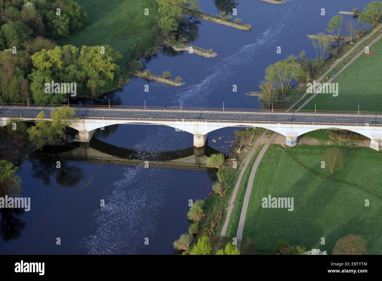 Kemnader Bruecke, Bridge over Ruhr river between Witten and Bochum, Germany, North Rhine-Westphalia, Ruhr Area, - Stock Image