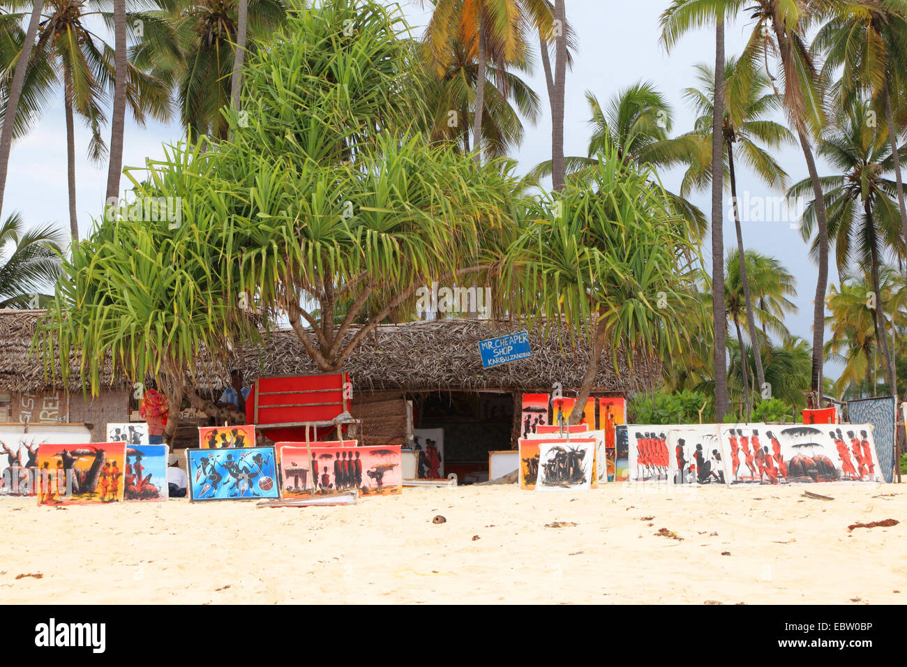 sales booth on the beach of the Indian Ocean, Tanzania, Sansibar - Stock Image