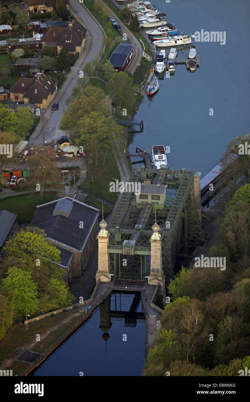 Industrial Museum Ship Lift Henrichenburg at Dortmund Ems channel in the morning, Germany, North Rhine-Westphalia, - Stock Image
