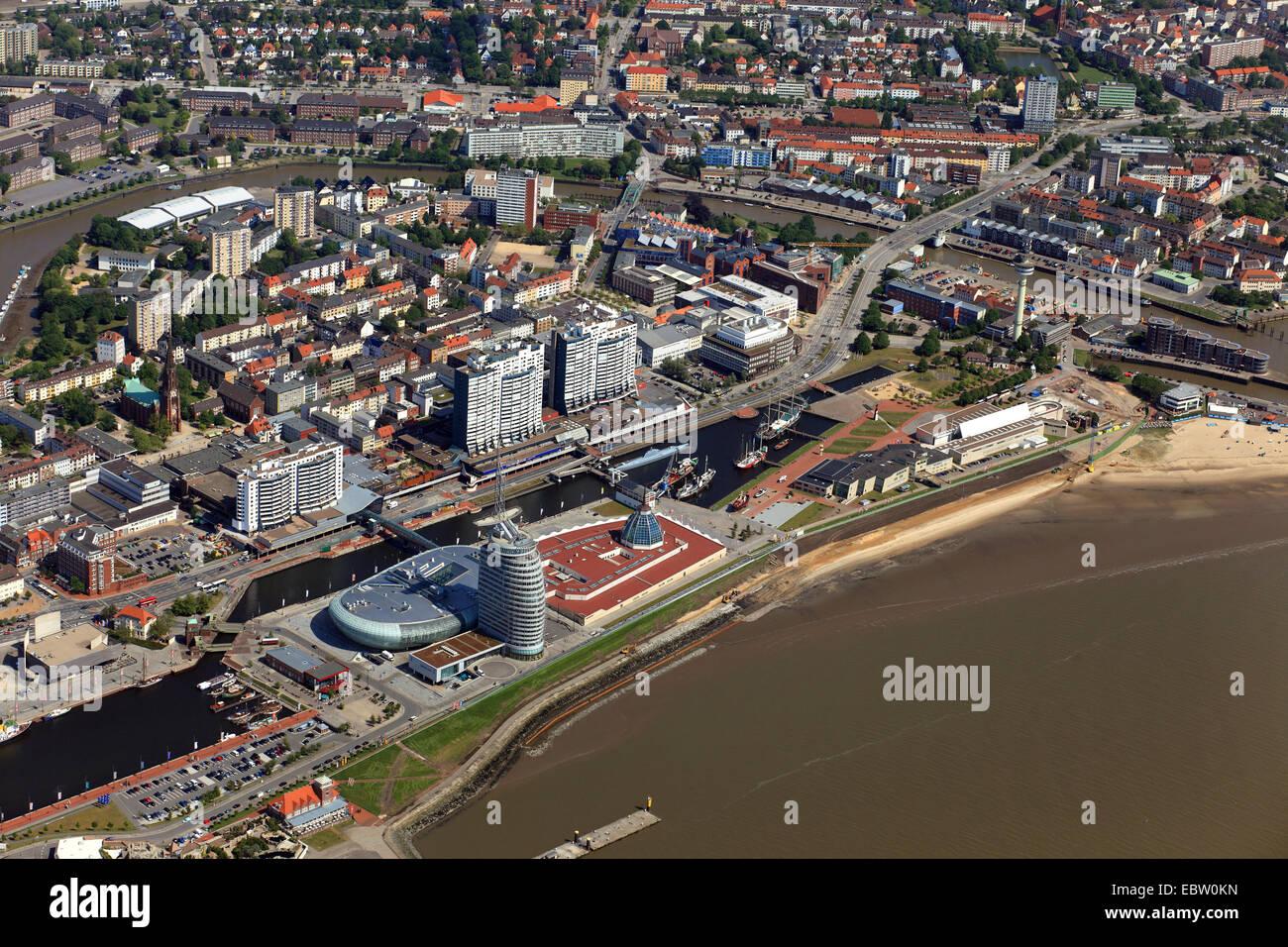 German Maritime Museum, Atlantic Hotel, Mediterraneo, oben Columbus-Center, Germany, Bremerhaven Stock Photo