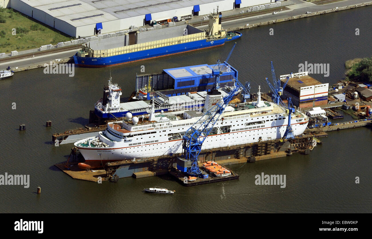 passanger liners on dry dock, Germany, Bremerhaven - Stock Image