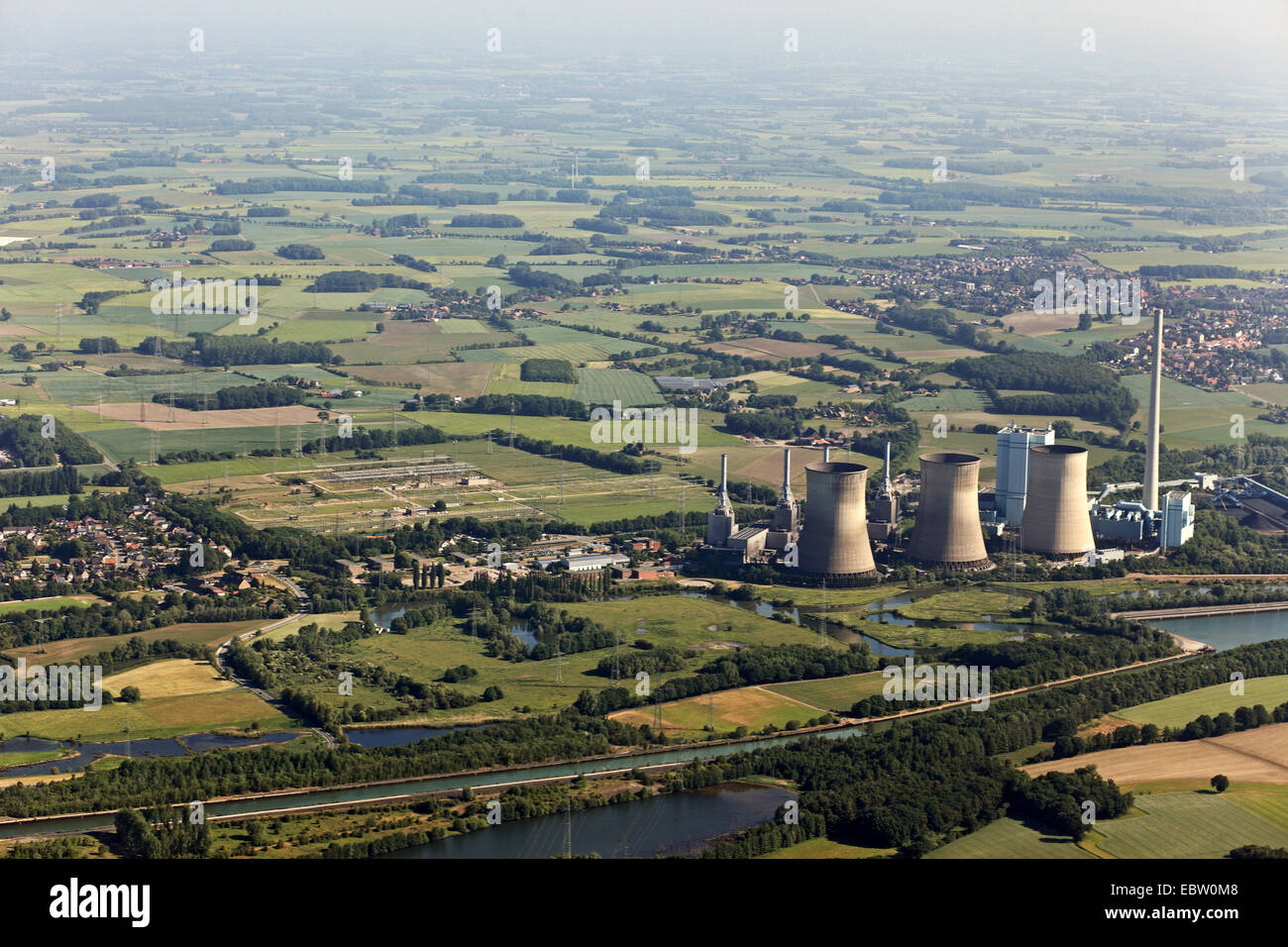 REW Power AG, Kraftwerk Gersteinwerk at Lippe River in Stockum, Germany, North Rhine-Westphalia, Ruhr Area, Werne Stock Photo