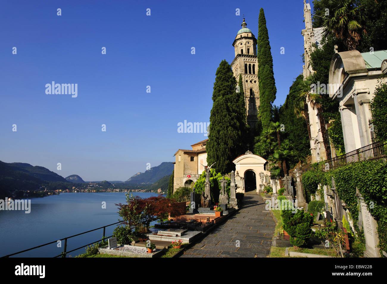 church of Morcote at Lago di Lugano, Switzerland, Ticino, Morcote Stock Photo