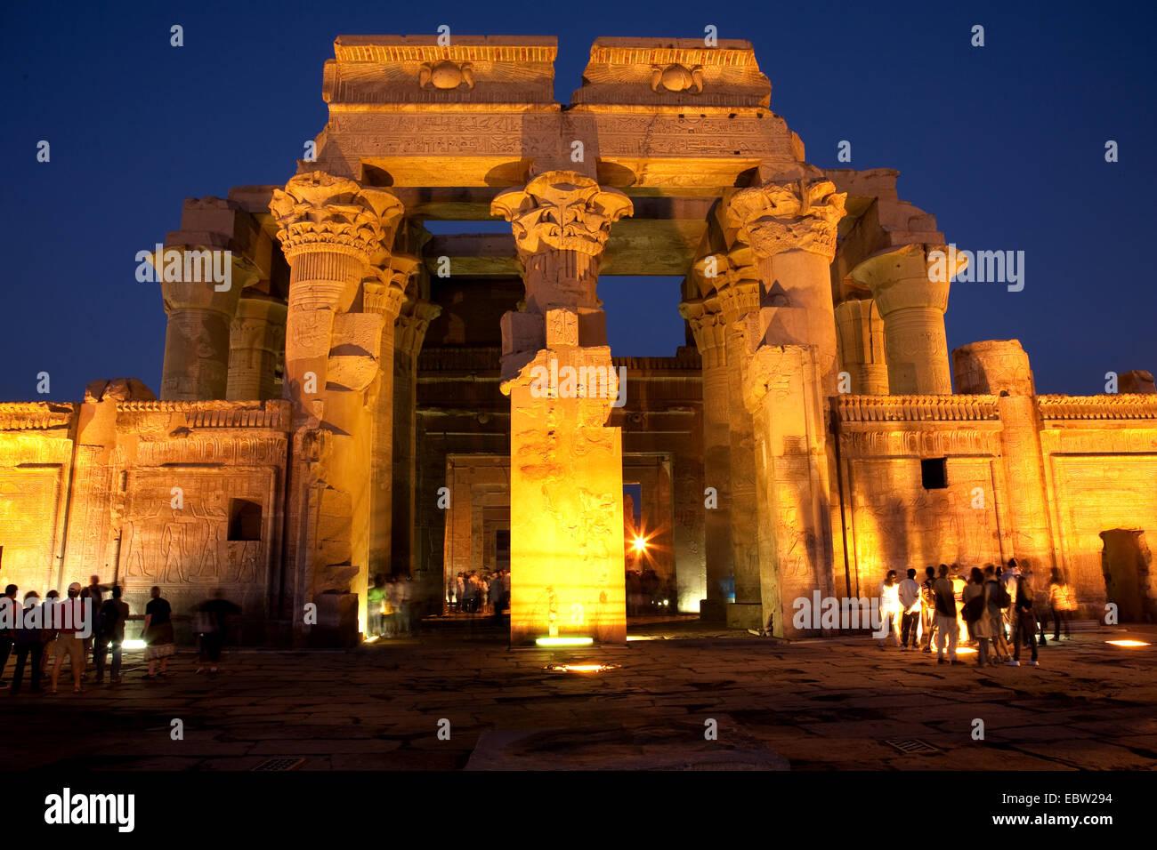 illuminated Temple of Kom Ombo, Egypt, Kom Ombo Stock Photo
