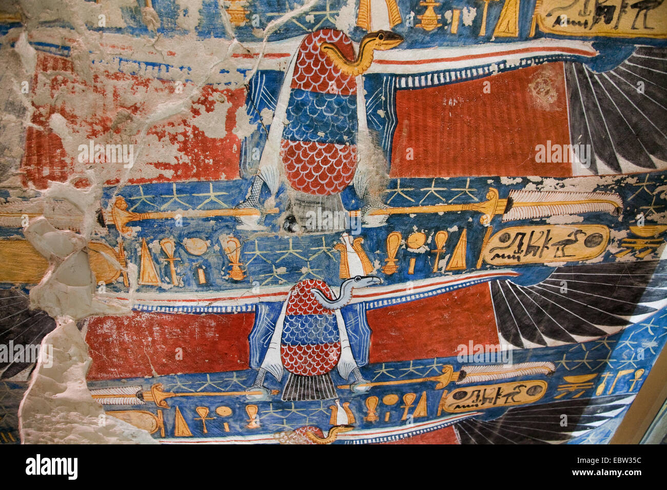 flying vultures adorning the ceiling of the ramp down to the grave of Siptah (1198-1193 BC), Egypt, Tal Der Koenige, - Stock Image