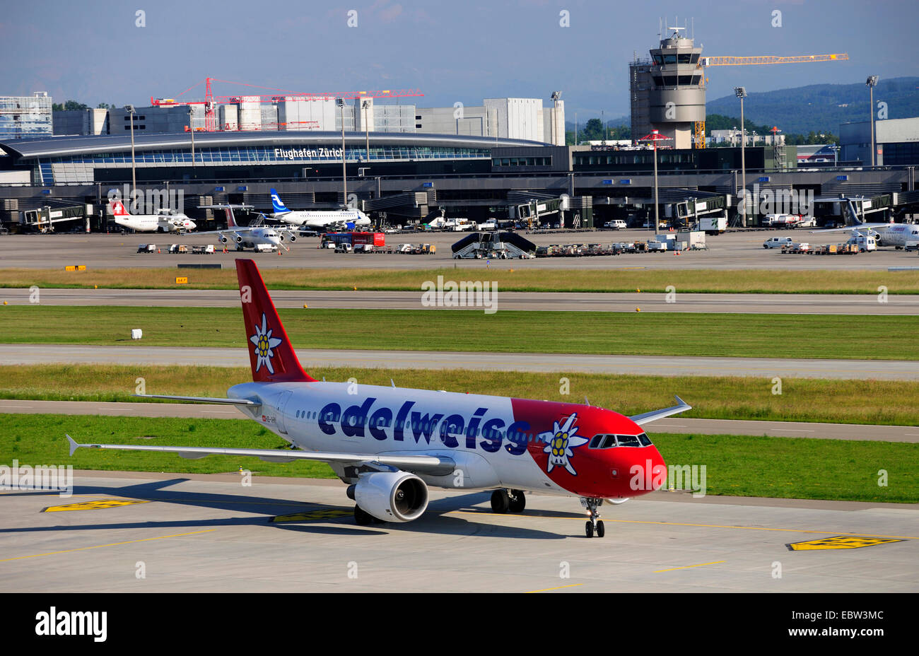 Airbus A320 of Edelweiss Air on Zurich airport, Switzerland, Zurich - Stock Image