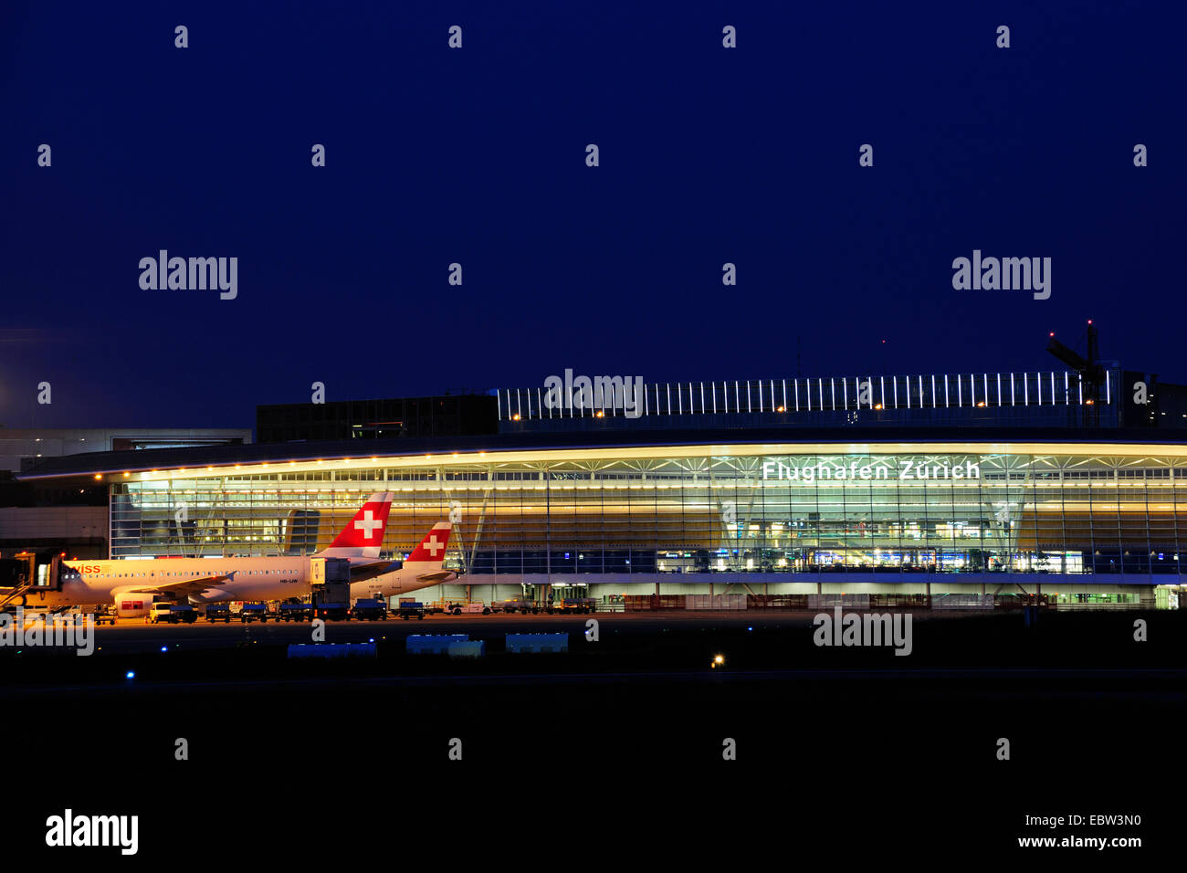 Zurich airport at night, Switzerland, Zurich - Stock Image