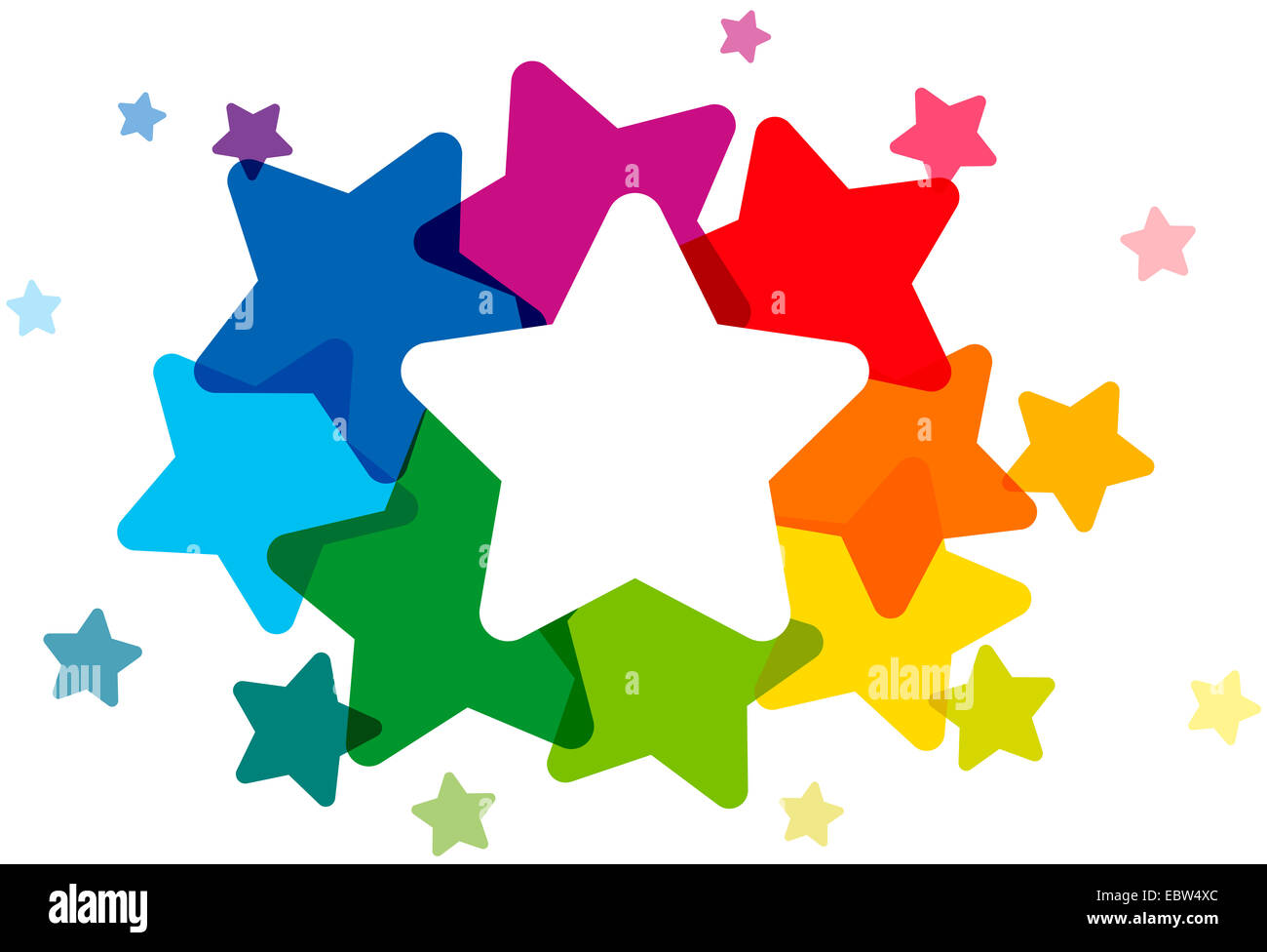 Rainbow Colored Stars Forming A Colorful Cloud And Frame To Write