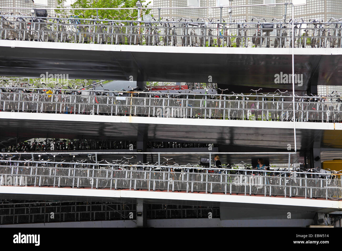 multistory bicycles park, Netherlands, Amsterdam - Stock Image