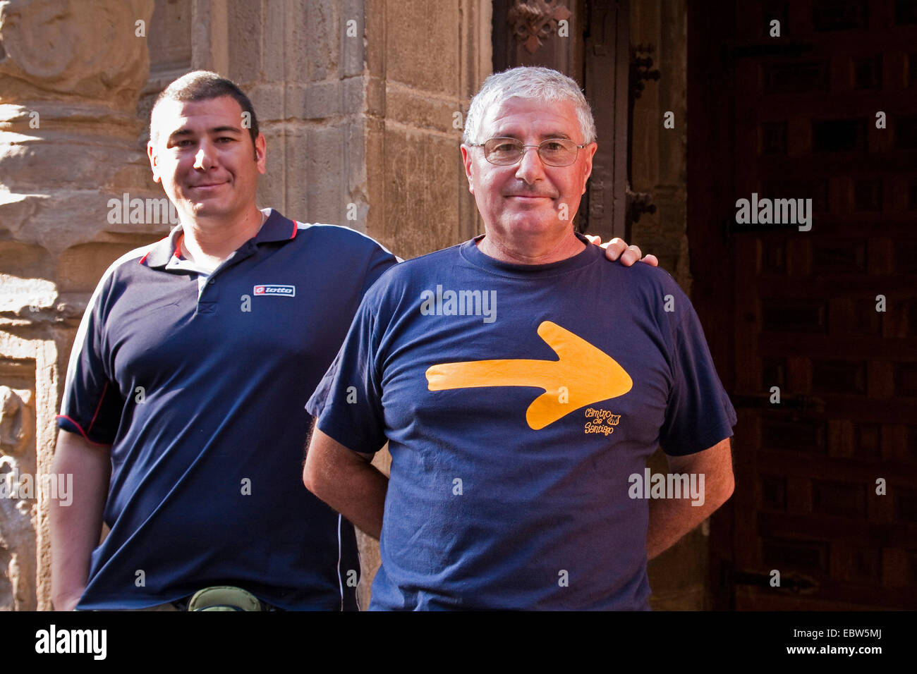 two pilgrims on the Way of St. James, Spain, Basque country, La Rioja, Logro�o - Stock Image