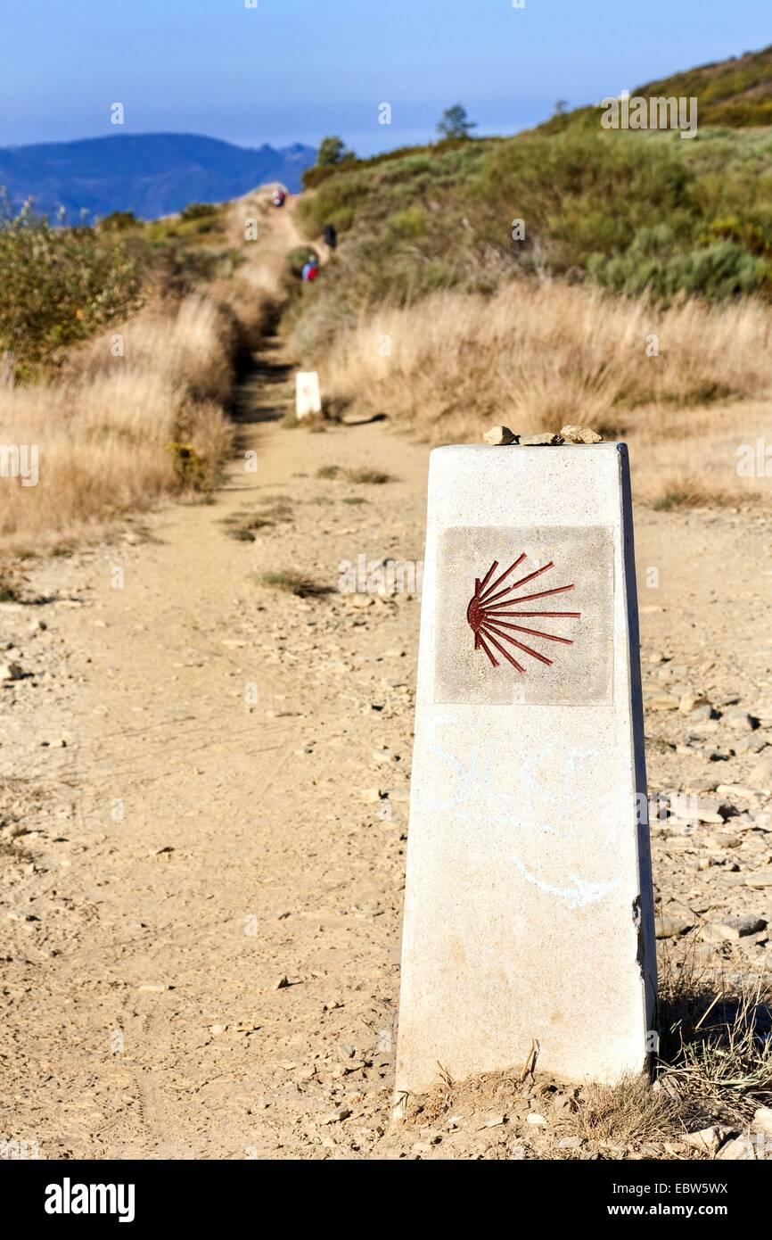 sign of Way of St. James, Spain, Leon, Kastilien,  El Acebo - Stock Image
