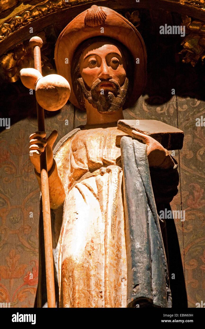 skulpture of Jacobus in Colegiata de Santa Mari�a, Spain, Basque country, Navarra, Roncesvalles, Orreaga - Stock Image