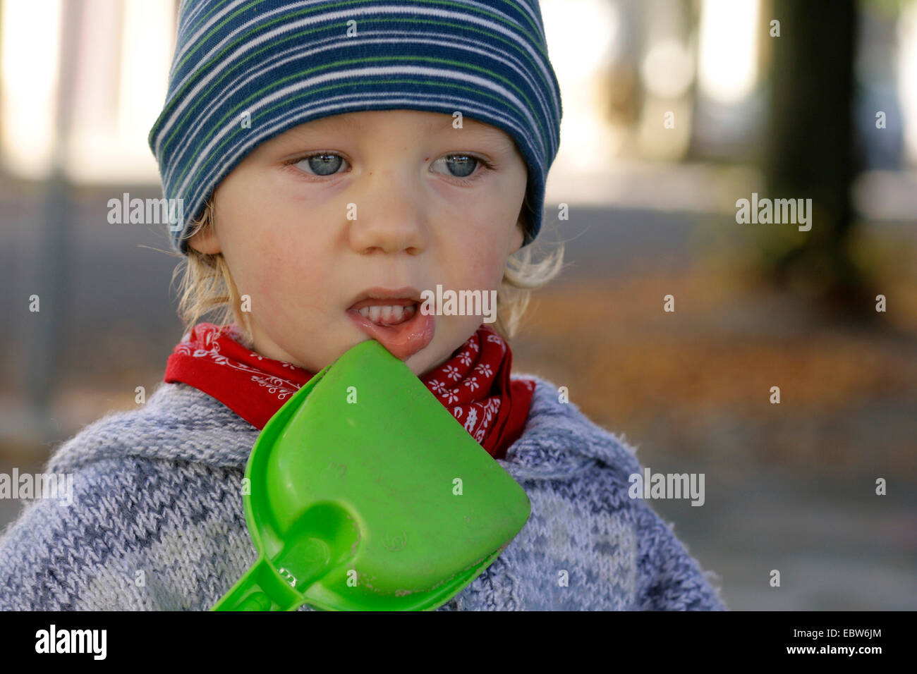 little boy with sandschovel Stock Photo