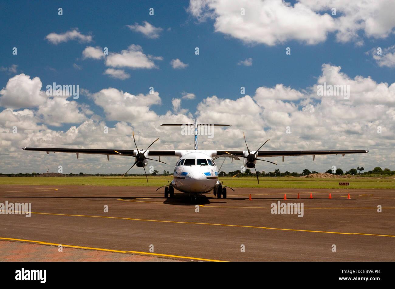 propeller plane of the Air Botswana at Maun Airport, Botswana - Stock Image