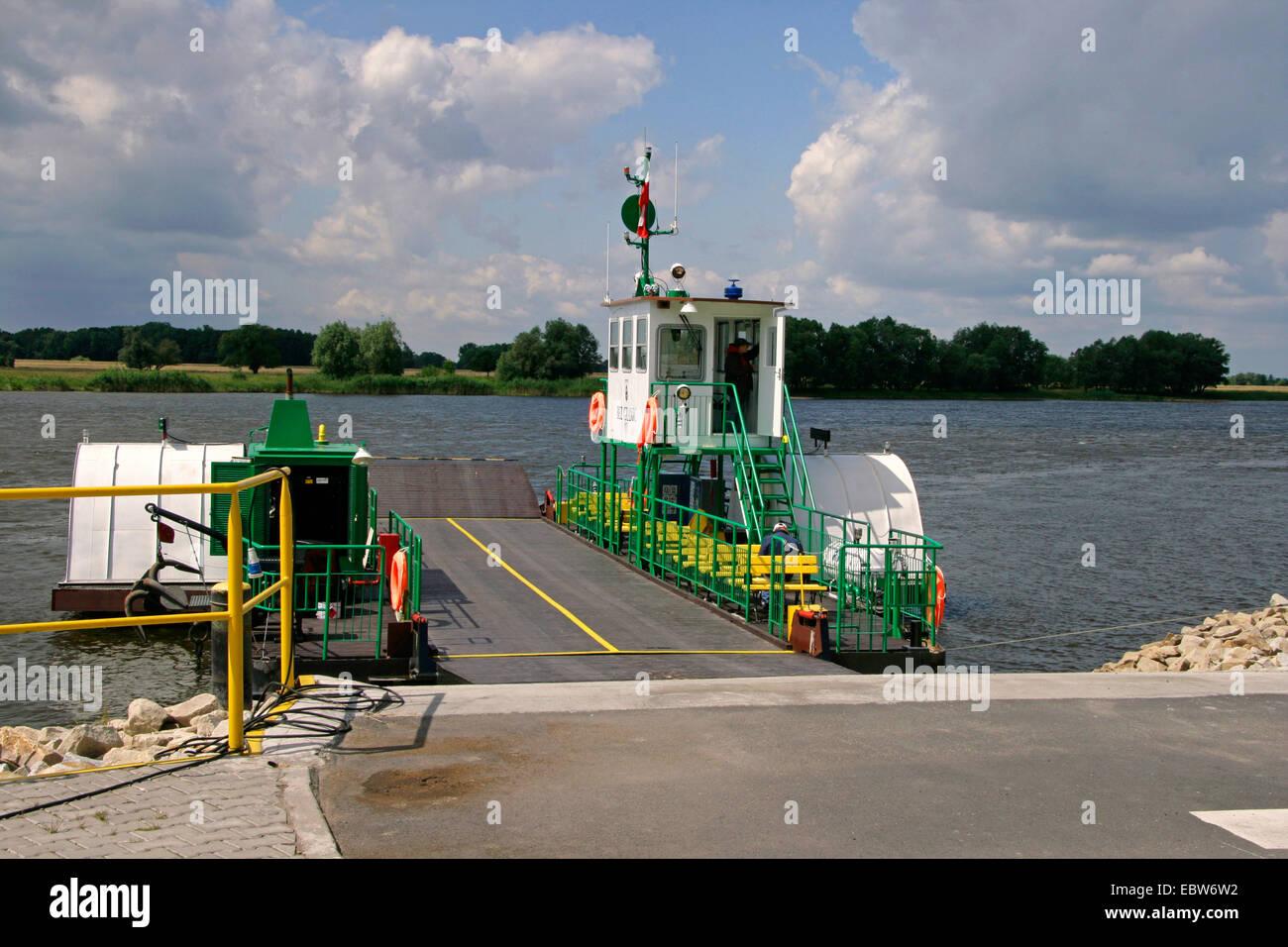 car ferry at riverbank of Elbe between Poland and Germany, Poland, West Pomeranian Voivodeship, Gozdowice Stock Photo