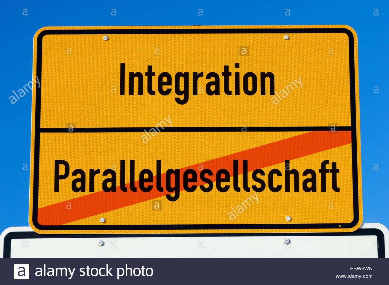 place name signs with titles integration and parallel society - Stock Image