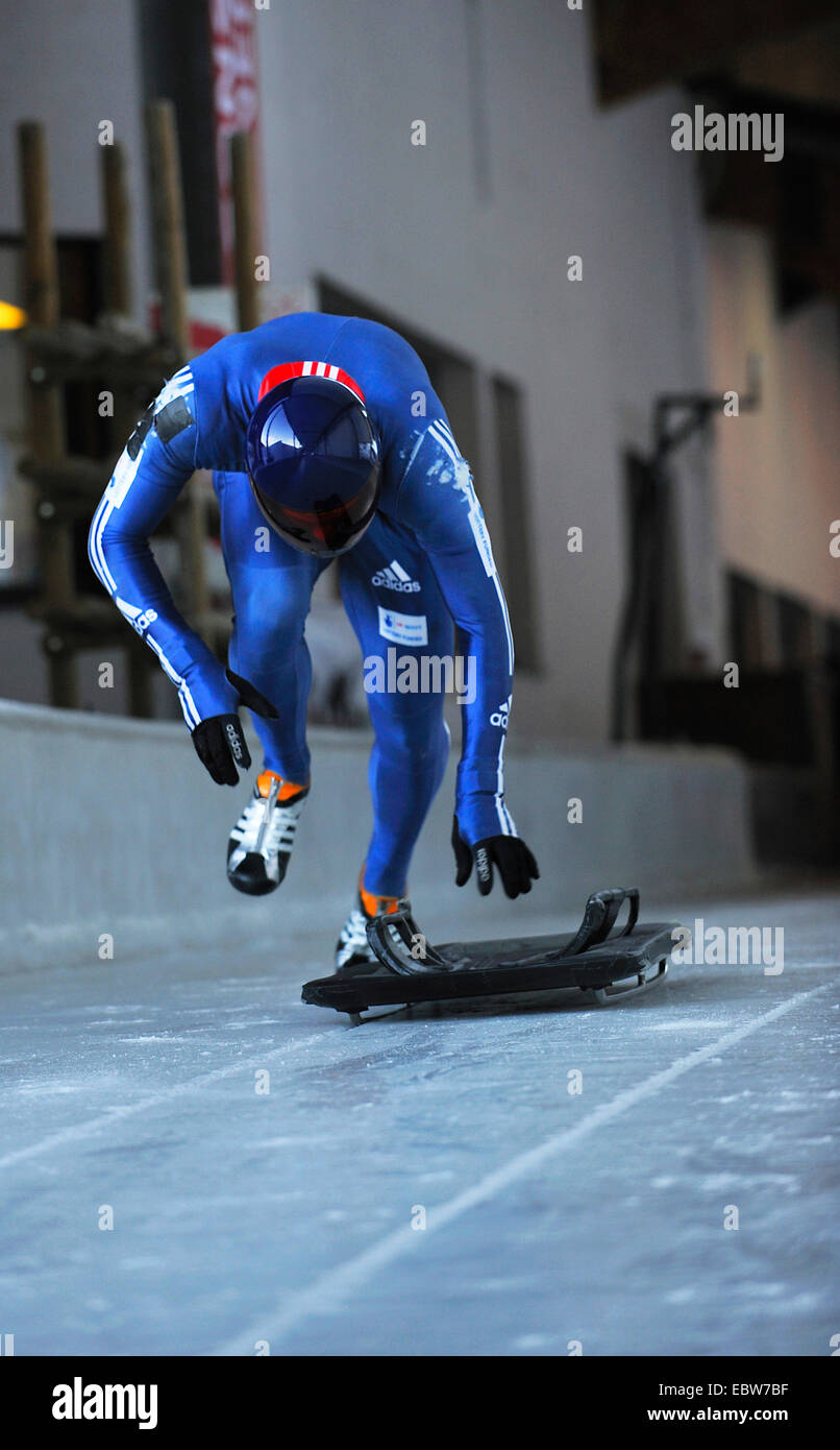 skeleton athlet starting, France, Savoie, la Plagne - Stock Image