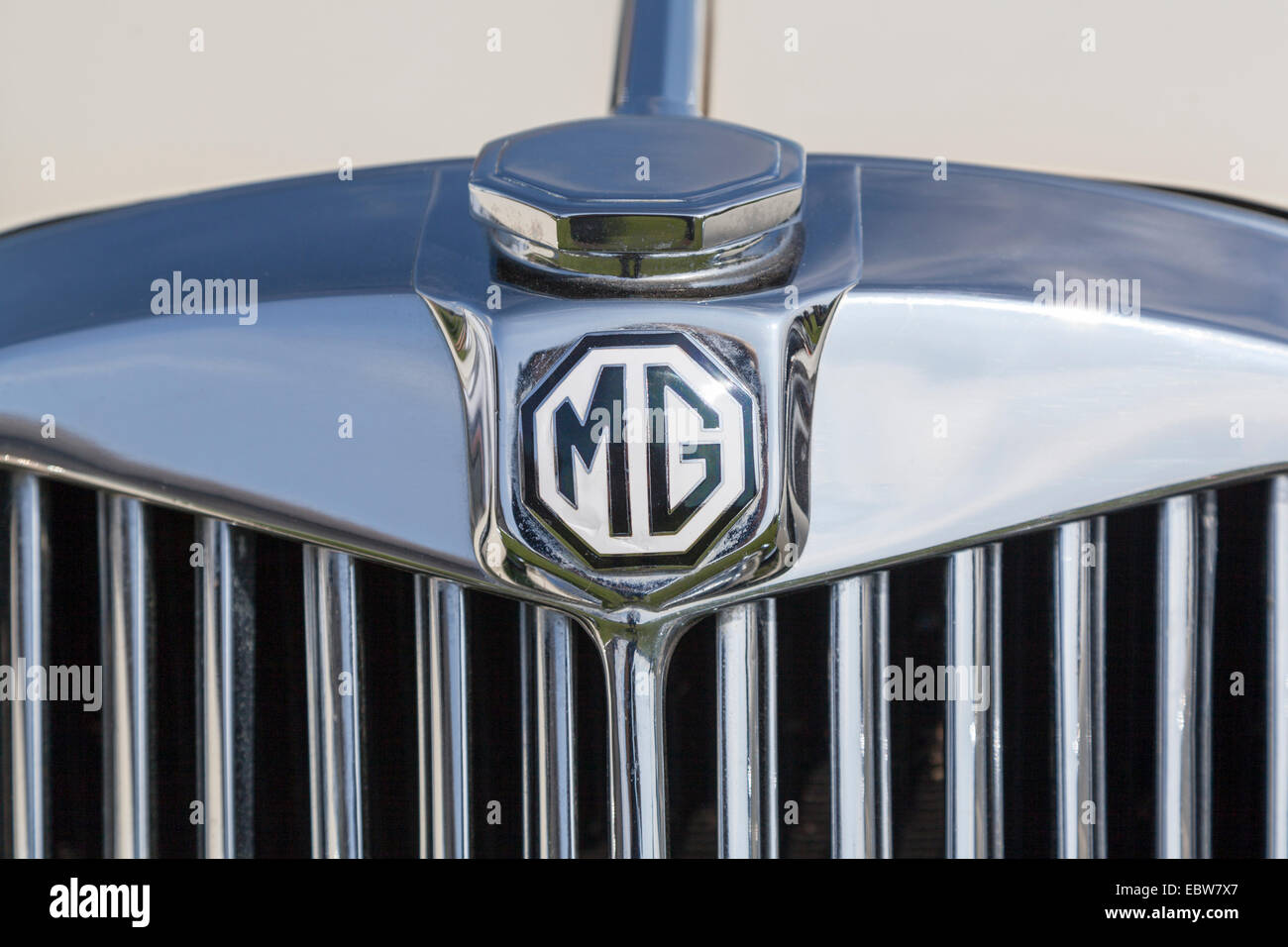 UK, Honley, Agricultural show 2013. MG car badge detail. - Stock Image