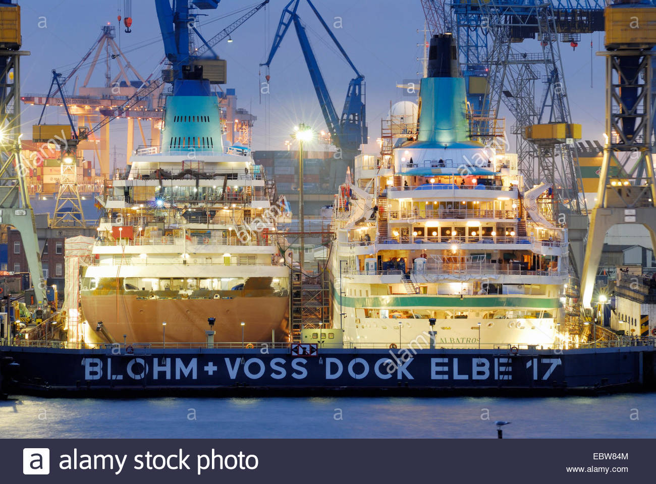 two cruise ships in the dry-dock at the harbour - Stock Image