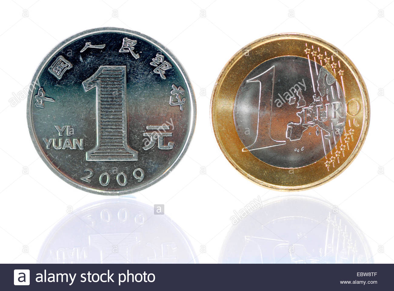 1 Yuan coin (chinese currency) and 1 Euro coin, development of economy in China and Europa - Stock Image