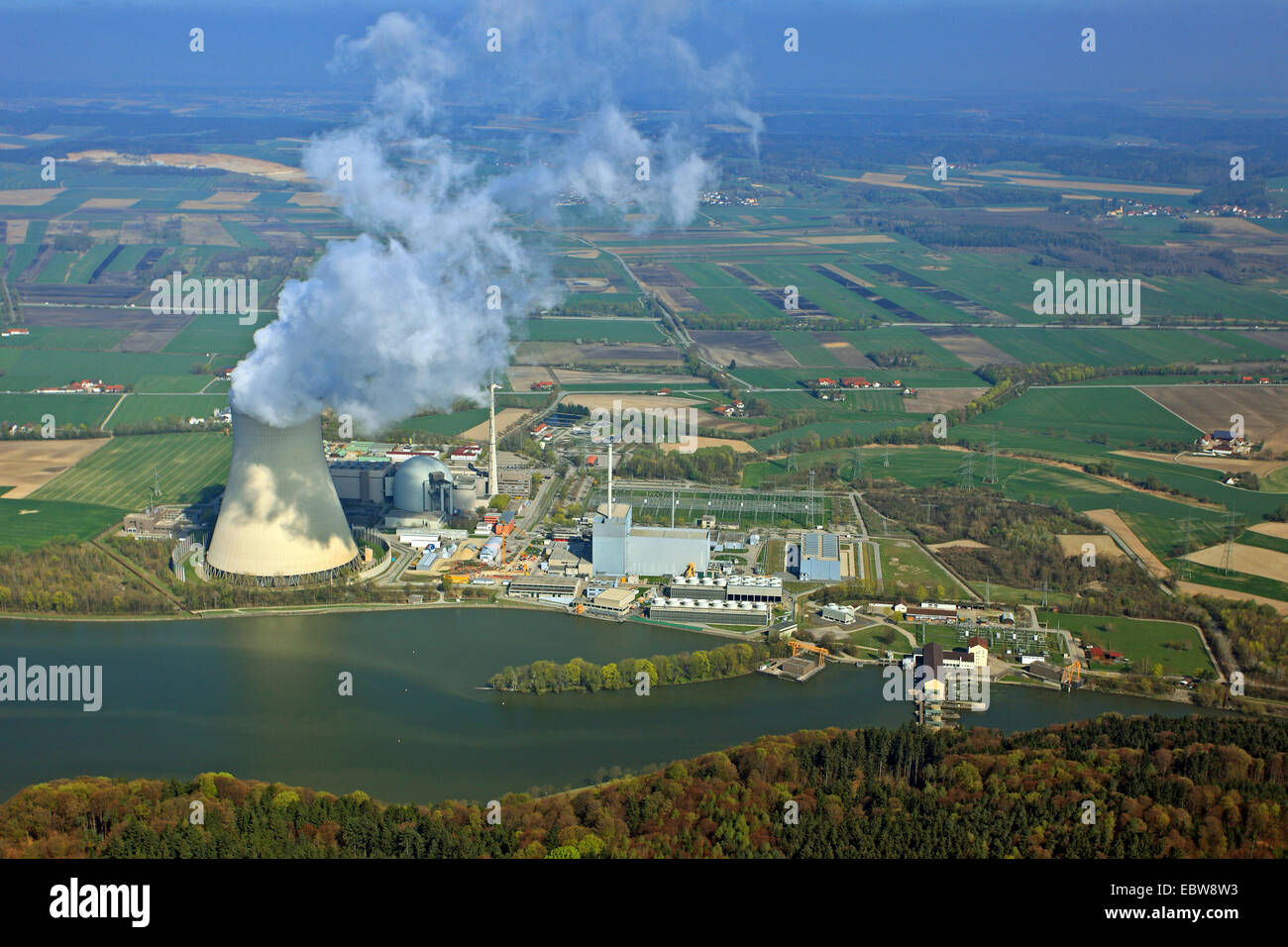nuclear power station Isar 2, Germany, Bavaria, Niederbayern, Lower Bavaria - Stock Image