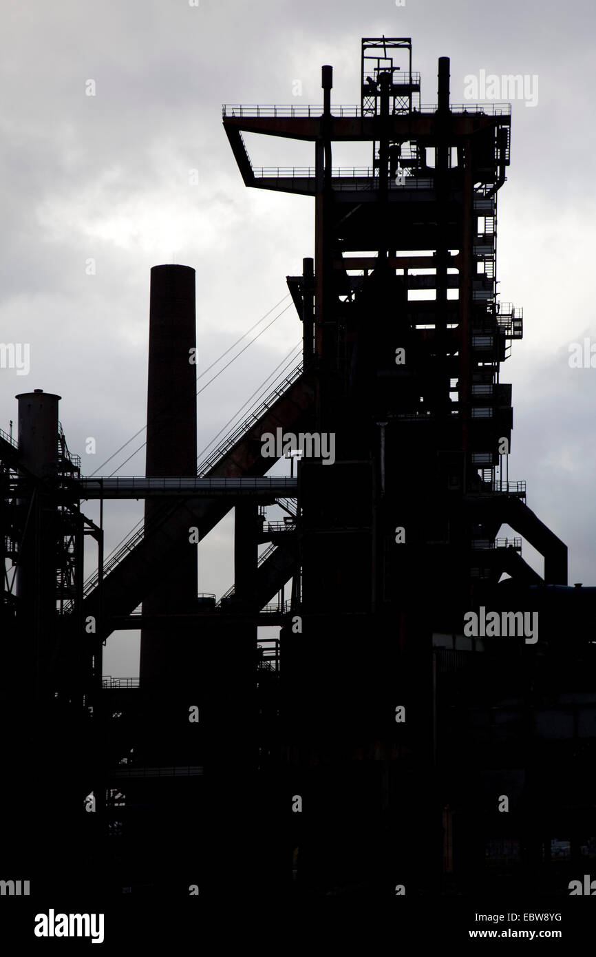 silhouette of abandoned industrial facility and furnace 5 of Phoenix West, Germany, North Rhine-Westphalia, Ruhr - Stock Image