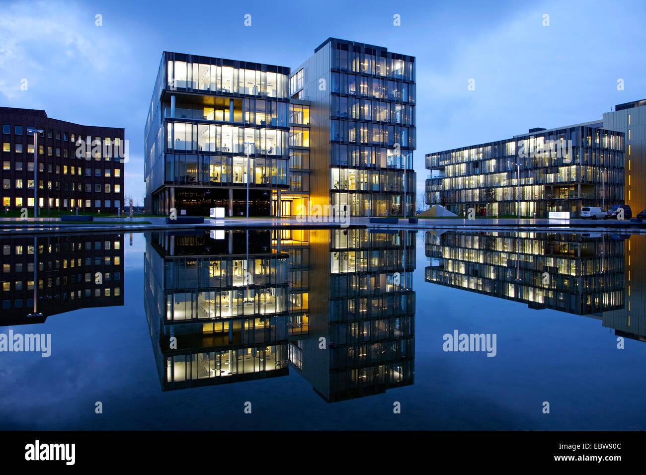 ThyssenKrupp corporate headquarters in twilight, Germany, North Rhine-Westphalia, Ruhr Area, Essen - Stock Image