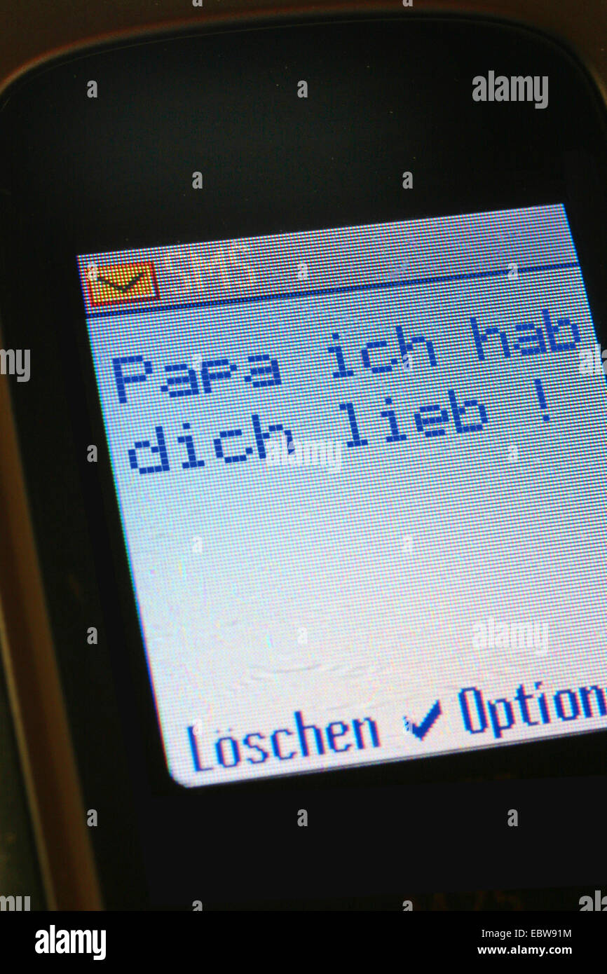 SMS in german, dady, I love you, Mama, ich liebe dich! - Stock Image
