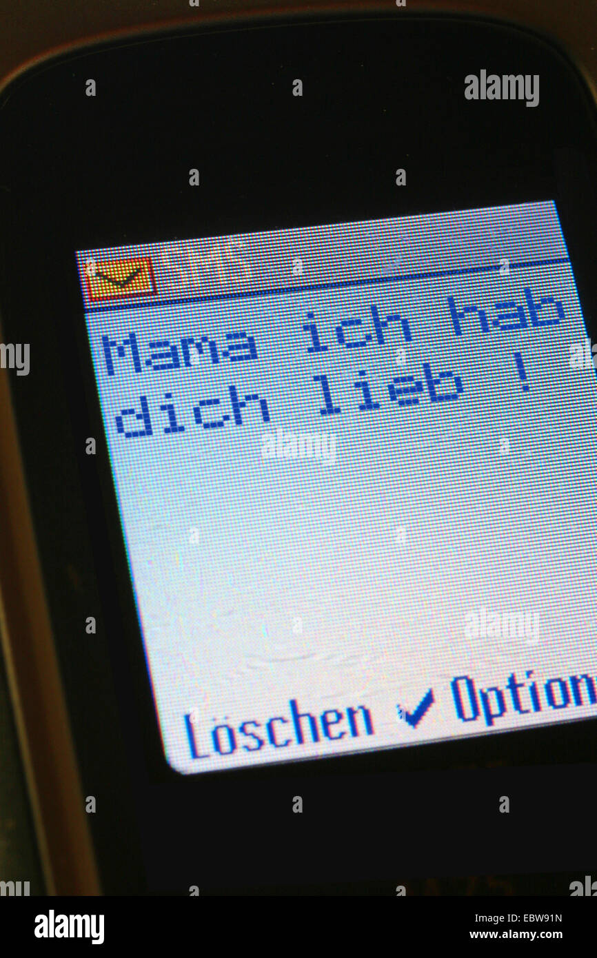 SMS in german, Mom, I love you, Mama, ich liebe dich! - Stock Image
