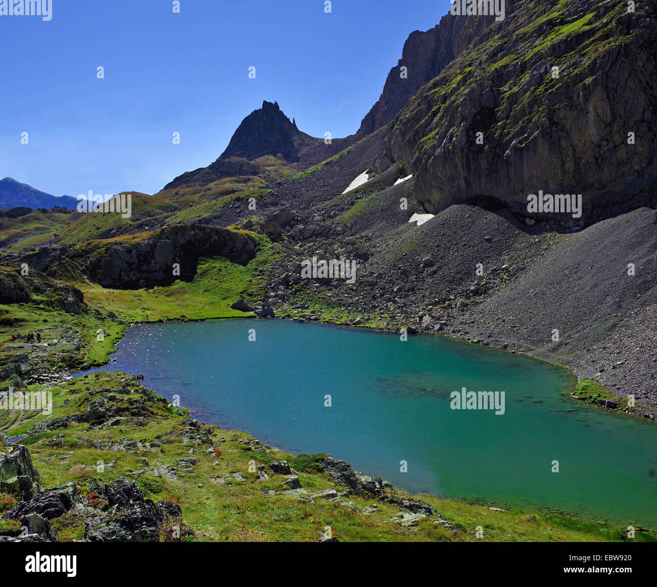 Lac au Col des Rochiles in Massif des Cerces, France, Savoie , Hautes-Alpes, Briancon Valloire - Stock Image
