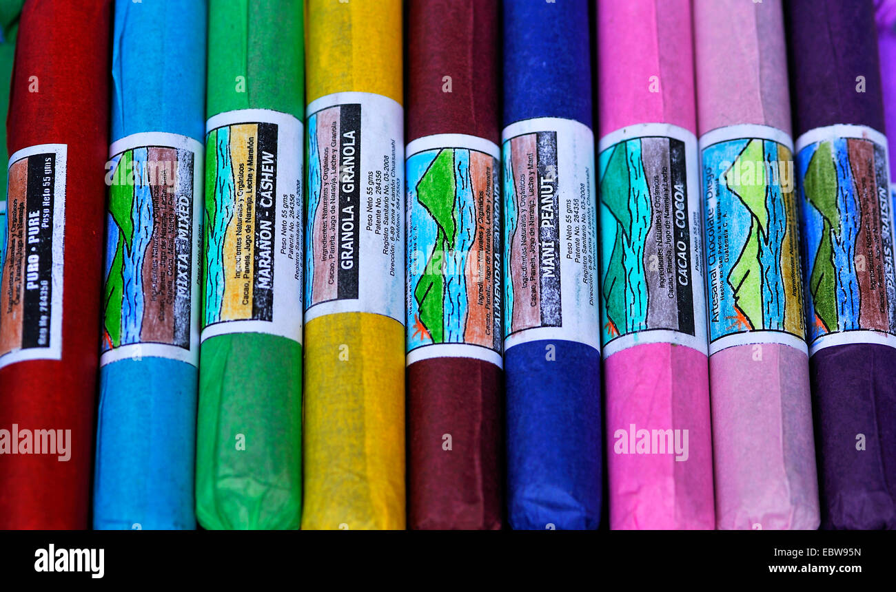 sweets made in Santiago Atitlan wrapped into colourful paper, Guatemala Stock Photo
