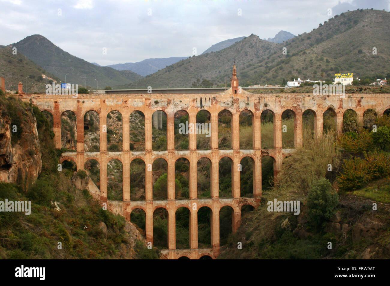 aqueduct, Acueducto El Aguila, Spain, Andalusia, Nerja - Stock Image