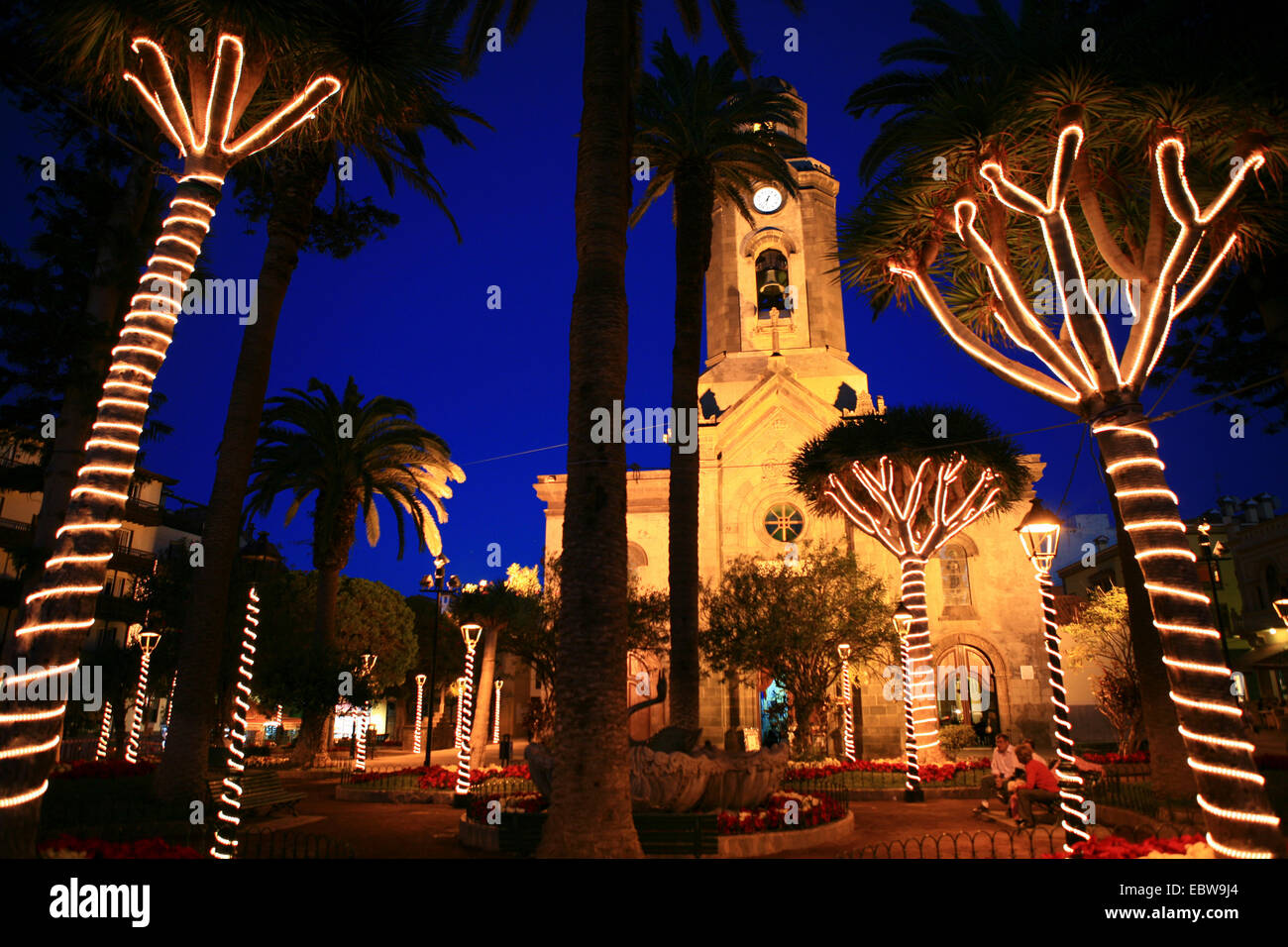 illuminated Plaza De La Iglesia and Nuestra Senora De La Pena De Francia, Canary Islands, Tenerife, Puerto De La Stock Photo