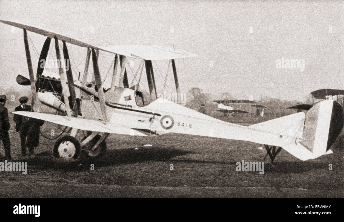 The Royal Aircraft Factory B.E.2.  British single-engine tractor two-seat biplane, in service with the Royal Flying - Stock Image