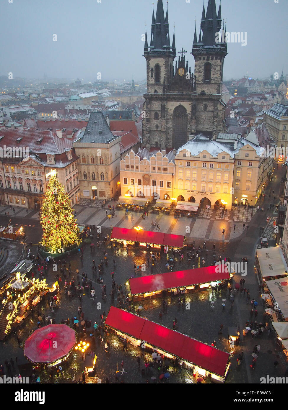 View looking down on the traditional Christmas Market in the Old Town Square in Prague at night - Stock Image