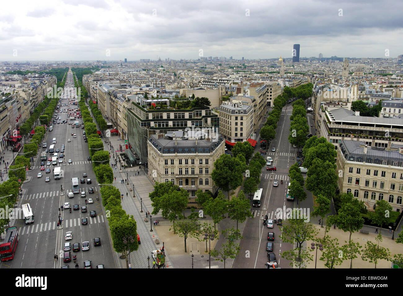 Paris view from the Arc de Triomphe, Paris cloudy - Stock Image