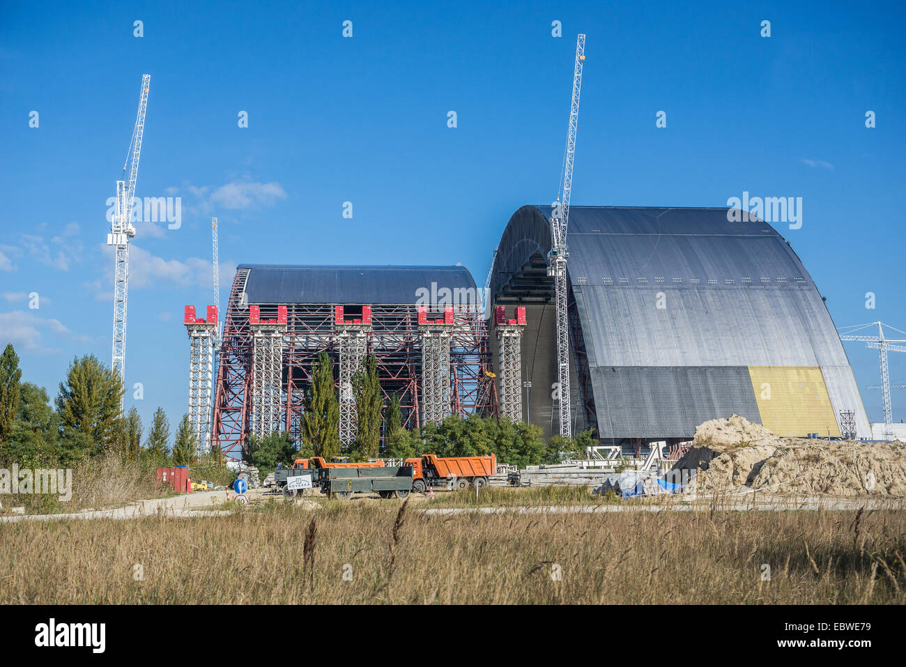 New Safe Confinement built to contain old sarcophagus of nuclear reactor number 4 in Chernobyl Nuclear Power Plant, - Stock Image