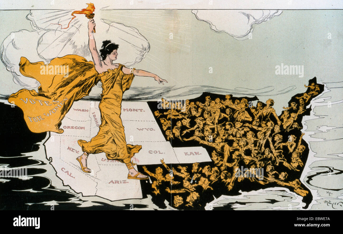 The Awakening - Political cartoon shows a torch-bearing female labeled 'Votes for Women', symbolizing the - Stock Image