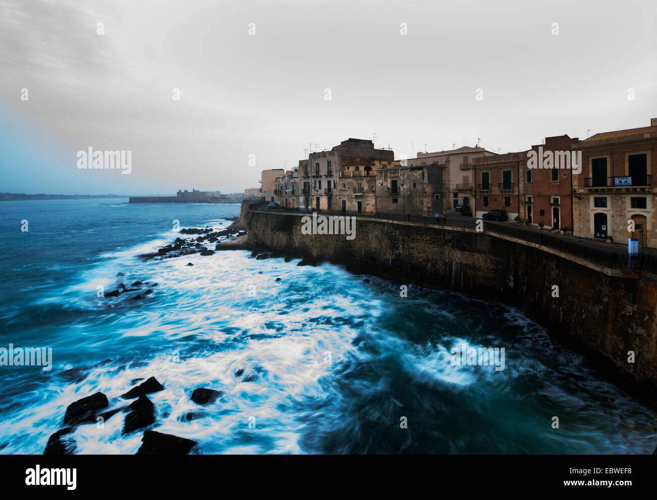 Syracuse's Ortygia island by the Ionian sea. - Stock Image